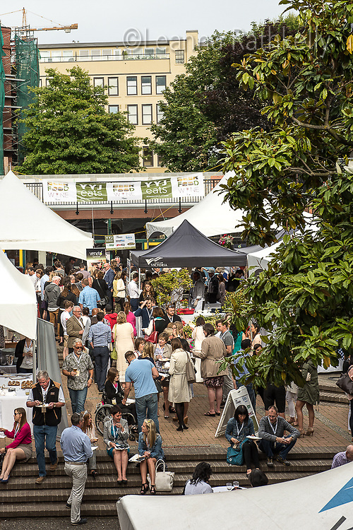 The 2016 YYJ Eats event at Market Square features local restaurants, wineries and breweries offering tasty bites to Chamber of Commerce members.