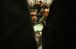Hezbollah members and supporters pay their respects to slain militant commander Imad Mugniyeh in Beirut, Lebanon on Feb. 14, 2008. Imad Mugniyeh was killed in a mysterious car bombing in Damascus, Syria. Mugniyeh a.k.a. Hajj Radwan, was among the most feared terror operatives in the world.