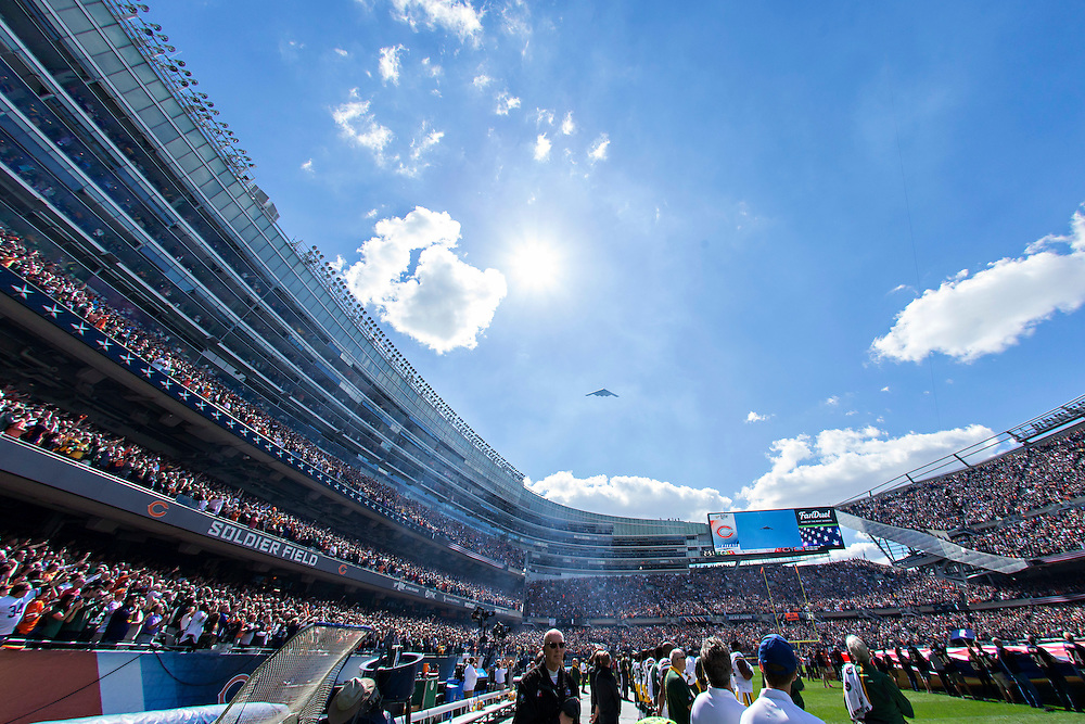 CHICAGO, IL - SEPTEMBER 13:  B-1 Bomber flies over Soldier Field before a game between the Chicago Bears and the Green Bay Packers at Soldier Field on September 13, 2015 in Chicago, Illinois.  The Packers defeated the Bears 31-23.  (Photo by Wesley Hitt/Getty Images) *** Local Caption ***