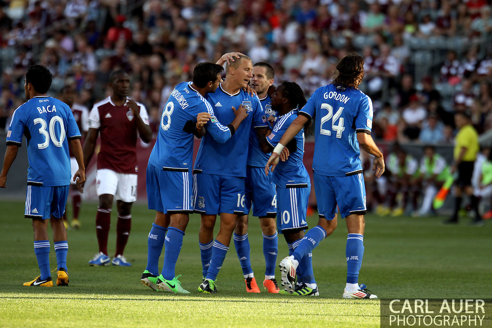 June 15th, 2013 - The San Jose Earthquake celebrate forward Steven Lenhart (16) first half goal of the MLS match between San Jose Earthquake and the Colorado Rapids at Dick's Sporting Goods Park in Commerce City, CO