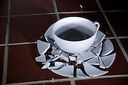 A cup and plate breaking as it hits the floor.  Photographed with high-speed flash of a duration of 1/1,000,000th of a second.  .