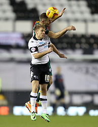 Derby County's Jamie Ward battles with Queen Park Rangers' Aaron Hughes  - Photo mandatory by-line: Matt Bunn/JMP - Tel: Mobile: 07966 386802 10/02/2014 - SPORT - FOOTBALL - Derby - Pride Park - Derby County v QPR - Sky Bet Championship