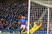 Kyle Lafferty of Rangers comes close to doubling Rangers lead but fires into the side netting during the Ladbrokes Scottish Premiership match between Rangers and Hamilton Academical FC at Ibrox, Glasgow, Scotland on 16 December 2018.
