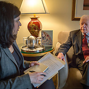 WASHINGTON, DC - APR 3: Former President of the United States, Jimmy Carter, gives an interview to Devika Bhat, in his hotel suite at the Mandarin Oriental hotel in Washington, DC. Photo by Evelyn Hockstein