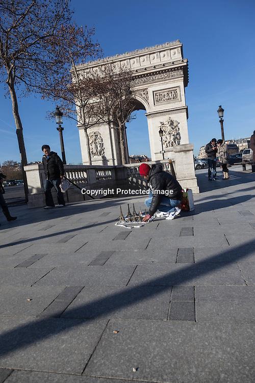 France. Paris. 8th district. The Champs Elysees  and the arc de Triomphe
