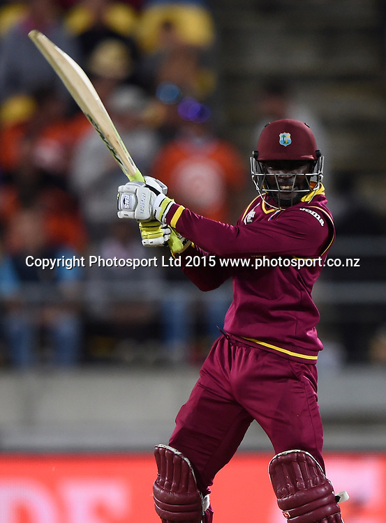 Jonathan Carter batting during the ICC Cricket World Cup quarter final match between New Zealand Black Caps and the West Indies, Wellington, New Zealand. Saturday 21March 2015. Copyright Photo: Andrew Cornaga / www.Photosport.co.nz