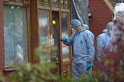 © Licensed to London News Pictures. 16/05/2018. London, UK, Police and Forensic officers in Ashmour Gardens, Romford, east London where a handyman has found the body of an 85 year old female who police believe was murdered in her own home . Photo credit: Steve Poston/LNP