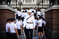 A guard on duty at the Grand Palace in Bangkok, Thailand.
