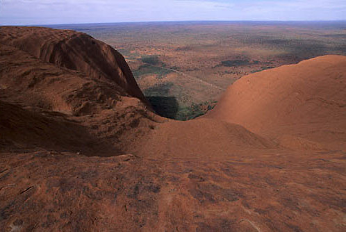 Ayers or Uluru National Park,View from top of Ayers Rock in Australia.