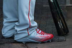 OAKLAND, CA - APRIL 13:  Detailed view of Mike Trout #27 of the Los Angeles Angels of Anaheim wearing Nike Lunar Trout 2 baseball cleats in the dugout before the game against the Oakland Athletics at the Coliseum on April 13, 2016 in Oakland, California. (Photo by Jason O. Watson/Getty Images) *** Local Caption *** Mike Trout