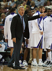 October 23, 2009; Sacramento, CA, USA;  Sacramento Kings head coach Paul Westphal argues a call during the third quarter against the Utah Jazz at the ARCO Arena.  The Jazz won 95-85.