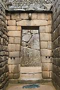 Stone doorway at Temple of the Sun, Machu Picchu, Peru.