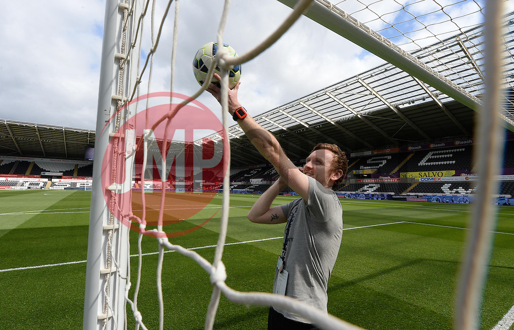 Technician tests out the goal line Technology prior to kick off.   - Photo mandatory by-line: Alex James/JMP - Mobile: 07966 386802 - 17/05/2015 - SPORT - Football - Swansea - The Liberty stadium - Swansea City v Manchester City - Barclays premier league