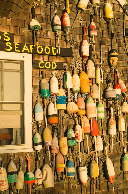 Seafood restaurant exterior with buoy decoration, Rock Harbor, Cape Cod, MA