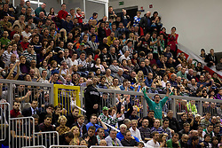 Spectators during basketball match between KK Union Olimpija Ljubljana and KK Krka Novo mesto in Final match of 11th Slovenian Spar Cup 2012, on February 19, 2012 in Sports hall Brezice,  Brezice, Slovenia. Union Olimpija defeated Krka 68-63 and became Slovenian Cup Champion 2012. (Photo By Vid Ponikvar / Sportida.com)
