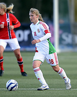 Fotball / Football<br /> 04.04.2013<br /> UEFA WU19, Second Qualifying Round<br /> Norge v Ungarn<br /> Norway v Hungary<br /> Foto: Morten Olsen, Digitalsport<br /> <br /> Henrietta Csiszar (18) - Hungary