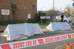 © Licensed to London News Pictures. 19/08/2013<br /> File picture 13/02/2013<br /> The scene of the Fatal shooting of Kevin McKinley.<br />   Merryweather Close,Dartford,Kent in February 2013. <br /> A woman has today (19.08.2013) been found guilty of killing a father-of-three with a shotgun as his young son sat yards away.<br /> Michaela Sargeant, 25, was convicted at Maidstone Crown Court of the manslaughter of 32-year-old Kevin McKinley in Dartford - but cleared of murder.<br /> It happened near the home she shared with her partner Lewis Wickenden in Overy Street.<br /> Wickenden, 26, was also convicted of assisting an offender, but acquitted of possession of a firearm with intent to cause fear of violence.<br /> The pair were unanimously convicted by a jury of seven men and five women after a trial.<br /> They are due to be sentenced tomorrow morning <br /> Photo credit : Grant Falvey/LNP