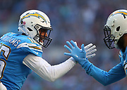LONDON, ENGLAND - OCTOBER 21: wide receiver Tyrell Williams (16) of The Chargers celebrate scoring a touchdown during the NFL game between Tennessee Titans and Los Angeles Chargers at Wembley Stadium on October 21, 2018 in London, United Kingdom. (Photo by Mitchell Gunn/Pro Lens Photo Agency) *** Local Caption *** Tyrell Williams