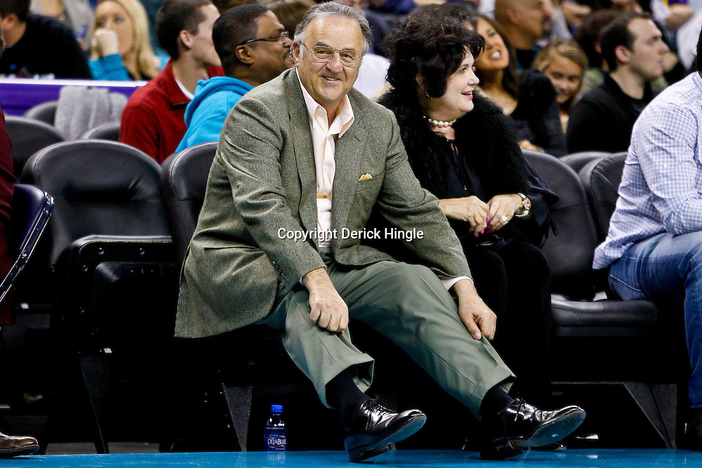 December 17, 2010; New Orleans, LA, USA; New Orleans Hornets minority owner Gary Chouest reacts after a basket by New Orleans Hornets guard Marcus Thornton (not pictured) during the second half of a game against the Utah Jazz at the New Orleans Arena.  The Hornets defeated the Jazz 100-71. Mandatory Credit: Derick E. Hingle