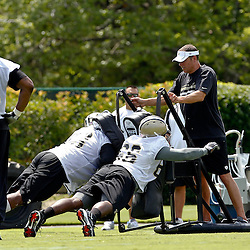 June 5, 2012; Metairie, LA, USA; New Orleans Saints offensive line and running game coach Aaron Kromer during a minicamp session at the team's practice facility. Mandatory Credit: Derick E. Hingle-US PRESSWIRE