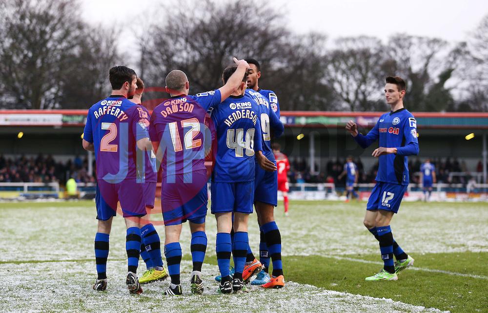 Rochdale's Ian Henderson celebrates after scoring Rochdale's second goal  - Photo mandatory by-line: Matt McNulty/JMP - Mobile: 07966 386802 - 17.01.2015 - SPORT - Football - Rochdale - Spotland Stadium - Rochdale v Crawley Town - Sky Bet League One