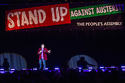 Mark Steel. The Peoples Assembly  presents: Stand Up Against Austerity. Live at the Hammersmith Apollo. London. © Andrew Aitchison / Peoples Assembly