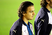 AFC Wimbledon attacker Egli Kaja (21) walking on the pitch during the EFL Sky Bet League 1 match between AFC Wimbledon and Rotherham United at the Cherry Red Records Stadium, Kingston, England on 17 October 2017. Photo by Matthew Redman.