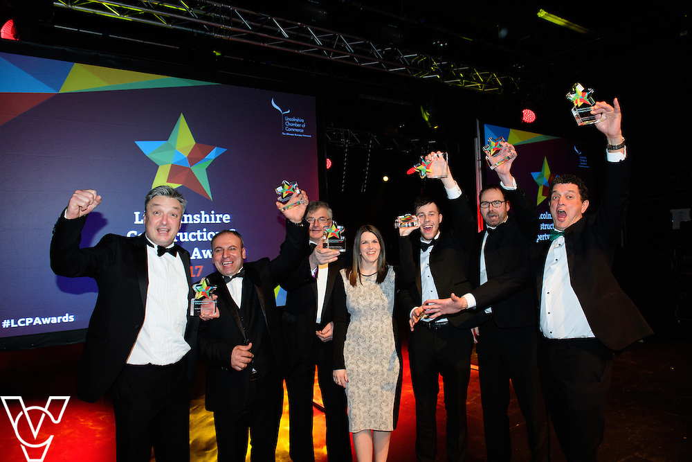 Lincolnshire Property and Construction Awards 2017.  Pictured are representatives from the seven award winners.<br /> <br /> Picture: Chris Vaughan Photography for Lincolnshire Chamber of Commerce<br /> Date: February 7, 2017