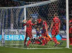 Derik Osede of Bolton Wanderers (Hidden) scores his sides first goal - Mandatory by-line: Jack Phillips/JMP - 06/01/2018 - FOOTBALL - Macron Stadium - Bolton, England - Bolton Wanderers v Huddersfield Town - English FA Cup