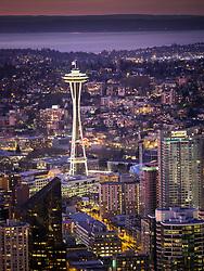 North America, United States, Washington, Seattle. An overhead view of downtown Seattle at sunset, looking northeast toward Lake Washington.