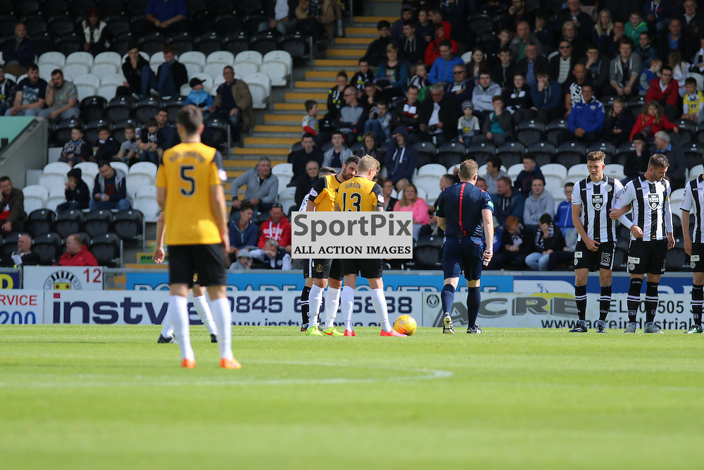 Willie Gibson lines up his free kick during the St Mirren FC V Dumbarton FC Scottish Championship 12th August 2015<br /> <br /> (c) Andy Scott | SportPix.org.uk