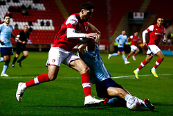 Ross Sykes of Accrington Stanley slides in to tackle Matt Crooks of Rotherham United - Mandatory by-line: Ryan Crockett/JMP - 16/11/2019 - FOOTBALL - Aesseal New York Stadium - Rotherham, England - Rotherham United v Accrington Stanley - Sky Bet League One
