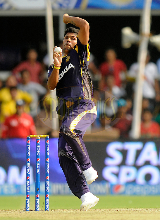 Umesh Yadav of the Kolkata Knight Riders bowls during match 25 of the Pepsi Indian Premier League Season 2014 between the Rajasthan Royals and the Kolkata Knight Riders held at the Sardar Patel Stadium, Ahmedabad, India on the 5th May  2014<br /> <br /> Photo by Pal Pillai / IPL / SPORTZPICS      <br /> <br /> <br /> <br /> Image use subject to terms and conditions which can be found here:  http://sportzpics.photoshelter.com/gallery/Pepsi-IPL-Image-terms-and-conditions/G00004VW1IVJ.gB0/C0000TScjhBM6ikg