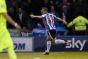 Ross Wallace scores to make it 1-0 and celebrates during the Sky Bet Championship Play Off First Leg match between Sheffield Wednesday and Brighton and Hove Albion at Hillsborough, Sheffield, England on 13 May 2016.