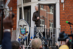 © Licensed to London News Pictures. 19/05/2017. London, UK. JULIAN ASSANGE speaking from the Ecuadoran embassy in London where the Wikileaks founder has been living since 2012. Today the Swedish authorities have announced that they are dropping their investigation into rape allegations against him. Photo credit: Ben Cawthra/LNP