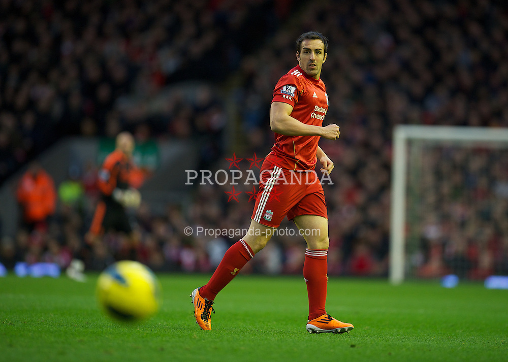 LIVERPOOL, ENGLAND - Saturday, December 10, 2011: Liverpool's Jose Enrique in action against Queens Park Rangers during the Premiership match at Anfield. (Pic by David Rawcliffe/Propaganda)