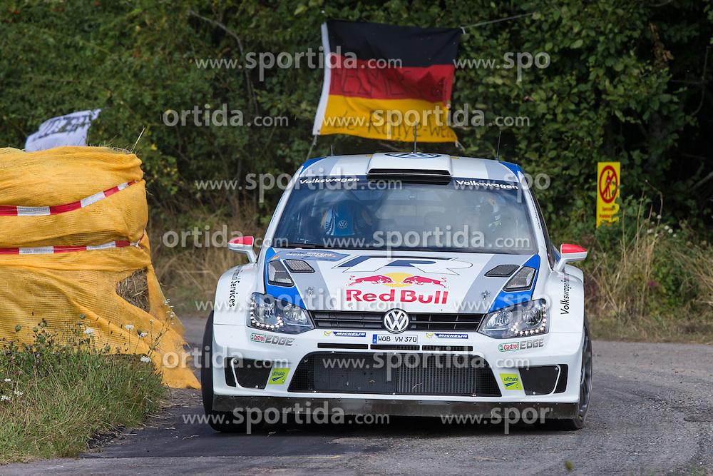 21.08.2013, Shakedown, Trier, GER, FIA WRC, ADAC Rallye Deutschland, im Bild Jari Matti LATVALA/ ANTTILA Miikka (VOLKSWAGEN MOTORSPORT (DEU)/ VOLKSWAGEN POLO R WRC) vor Deutschlandfahne, Aktion / Action // during the FIA WRC Rallye of Germany, Shakedown, Trier, Germany on 2013/08/21. EXPA Pictures &copy; 2013, PhotoCredit: EXPA/ Eibner/ Alexander Neis<br /> <br /> ***** ATTENTION - OUT OF GER *****