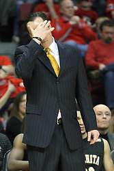 17 February 2013:  Gregg Marshall wipes his brow during an NCAA Missouri Valley Conference mens basketball game where the Shockers of Wichita State played the Illinois State Redbirds  in Redbird Arena, Normal IL