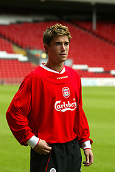 LIVERPOOL, ENGLAND - Thursday, July 10, 2003: Liverpool's new signing Harry Kewell, who arrives from Leeds United, at Anfield. (Pic by David Rawcliffe/Propaganda)