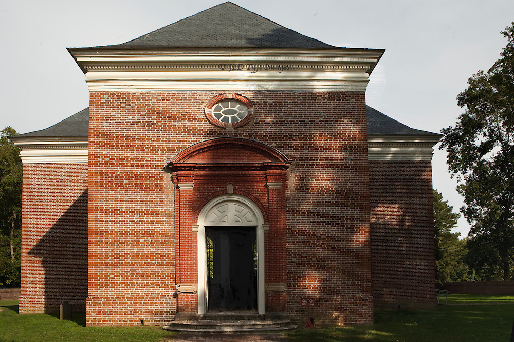 """Perfect American Georgian brick church, funded by Robert """"King"""" Carter in 1735.  Central plan, carved walnut pews and pulpit.  Carfully preserved and devotedly maintained by a private organization."""