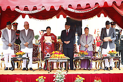 June 7, 2017 - Kathmandu, Nepal - Newly elect Prime Minister Sher Bahadur Deuba (R) speaks during the swearing-in ceremony with President Bidhya Devi Bhandari (3-L), outgoing Prime Minister Pushpa Kamal Dahal (3-R), Vice President Nanda Kishore Pun (2-L), Assembly Chairperson Onsari Gharti Magar (2-R) and acting chief justice Gopal Parajuli (L) at the Presidential office in Kathmandu, Nepal on June 7, 2017. (Credit Image: © Skanda Gautam via ZUMA Wire)