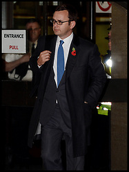The Prime Minister David Cameron's ex spin doctor and former editor of the News of the World Andy Coulson leaves The Old Bailey Phone during the Phone Hacking Trial, London, United Kingdom. Tuesday, 29th October 2013. Picture by Andrew Parsons / i-Images