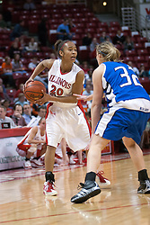 26 February 2006:  Tiffany Hudson, guarded by Kelsey Crites, looks for a passing opportunity.....Illinois State Redbirds out muscled the Creighton Bluejays on Senior day by a score of 75-61.  Senior Holly Hallstorm grabbed her 10th double double with 20 points and 12 rebounds.  Competition took place at Redbird Arena on Illinois State University campus in Normal Illinois.