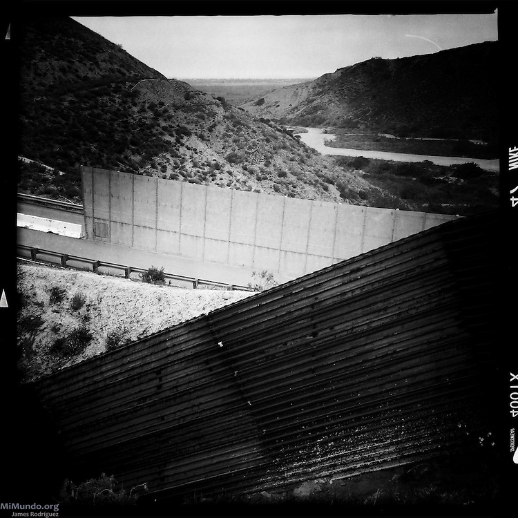 Layers of walls as seen from the Mexican side of the Mexico-US border. Tijuana, Baja California, Mexico. May 30, 2015.