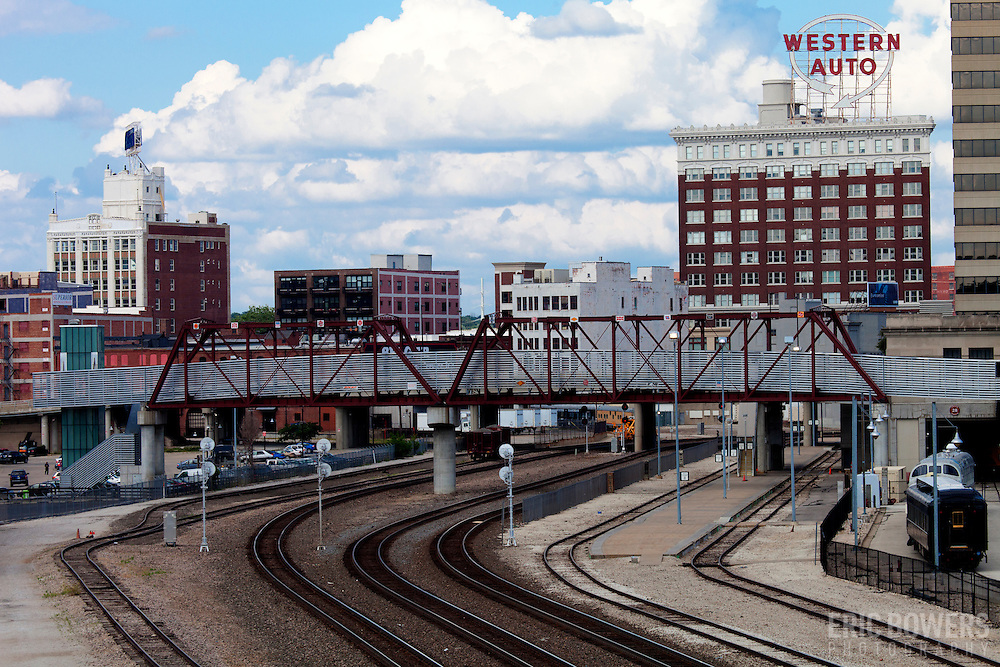 Downtown Kansas City's Western Auto building with railroad tracks behind Union Station
