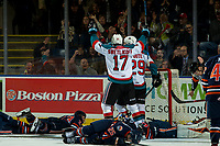 KELOWNA, CANADA - DECEMBER 29: Alex Swetlikoff #17 and Nolan Foote #29 of the Kelowna Rockets celebrate a goal against the Kamloops Blazers on December 29, 2018 at Prospera Place in Kelowna, British Columbia, Canada. The goal is the 20th for Foote and a career high. (Photo by Marissa Baecker/Shoot the Breeze)