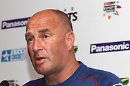 Otago Volts coach Vaughn Johnson during the Otago Volts team arrival press conference prior to the start of the Karbonn Smart CLT20 2013 held at the JW Marriott Hotel in Mohali on the 15th September 2013<br /> <br /> Photo by Shaun Roy-CLT20-SPORTZPICS <br /> <br /> Use of this image is subject to the terms and conditions as outlined by the BCCI. These terms can be found by following this link:<br /> <br /> http://www.sportzpics.co.za/image/I0000SoRagM2cIEc