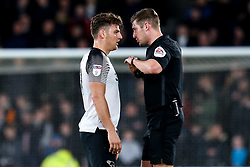 Chris Martin of Derby County is spoken to by the referee - Mandatory by-line: Robbie Stephenson/JMP - 31/01/2020 - FOOTBALL - Pride Park Stadium - Derby, England - Derby County v Stoke City - Sky Bet Championship