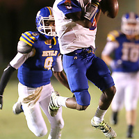 North Pontotoc receiver Brendon Fields tries to hold on to a pass from quarterback Corley Hooper only to drop it in the second quarter against Booneville Friday night.