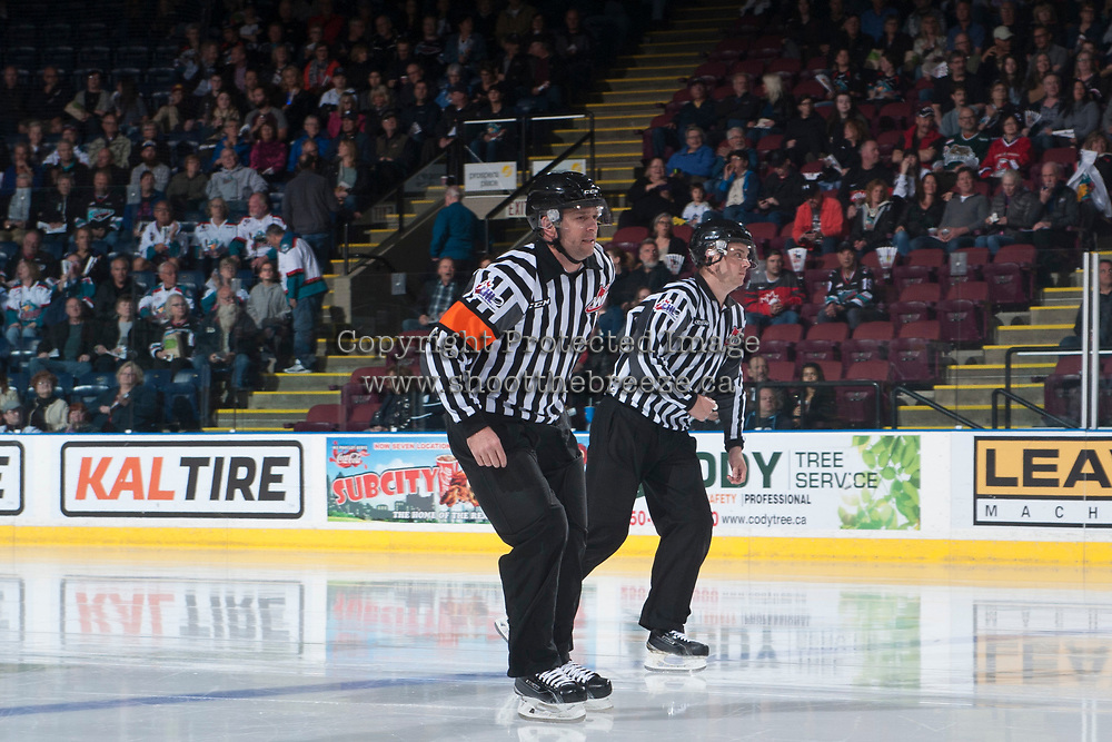 KELOWNA, CANADA - APRIL 30: Referee Reagan Vetter enters the ice at the Kelowna Rockets against the Seattle Thunderbirds on April 30, 2017 at Prospera Place in Kelowna, British Columbia, Canada.  (Photo by Marissa Baecker/Shoot the Breeze)  *** Local Caption ***
